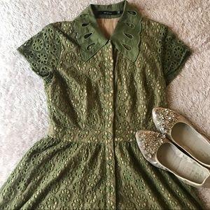 Ark & Co vintage-inspired green dress